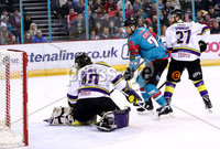 Press Eye - Belfast -  Northern Ireland - 11th February 2018 - Photo by William Cherry/Presseye. Belfast Giants John Kurtz with Manchester Storm\'s Mike Clemente and Linden Springer during Sunday afternoons Elite Ice Hockey League game at the SSE Arena, Belfast.