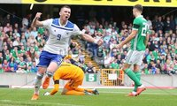 PressEye-Northern Ireland- 8th September  2018-Picture by Brian Little/ PressEye. Bosnia and Herzegovina  Hasis Duljevic celebrates  scoring  the opening goal against Northern Ireland     during  Saturday\'s  UEFA Nations League match at the National Football Stadium at Windsor Park.. Picture by Brian Little/PressEye .
