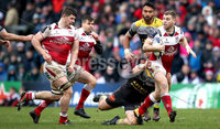 European Rugby Champions Cup Round 5, Kingspan Stadium, Belfast 13/1/2018. Ulster vs La Rochelle. Ulster\'s Darren Cave and Pierre Bourgarit of La Rochelle. Mandatory Credit ©INPHO/Ryan Byrne