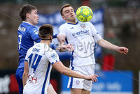 Danske Bank Premiership, Stangmore Park, Dungannon, Co. Tyrone 13/1/2018. Dungannon Swifts vs Coleraine. Dungannon\'s Peter McMahon with Martin Smith of Coleraine. Mandatory Credit ©INPHO/Matt Mackey