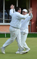 Mandatory Credit: Rowland White/Presseye. Bowls: Inter-Association . Teams: Private Greens League (red and white) v Provincial Bowling Association (white). Venue: Belmont. Date: 2nd June 2012. Caption: gary Kelly and Ian McClure celebrate for the Provincials