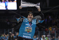 Press Eye - Belfast -  Northern Ireland - 06th April 2019 - Photo by William Cherry/Presseye. Belfast Giants\' Kyle Baun pictured with the Elite Ice Hockey League trophy after being crowned Champions at the SSE Arena, Belfast.       Photo by William Cherry/Presseye