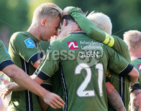 UEFA Europa League First Qualifying Round First Leg, Solitude, Belfast 12/7/2018. Cliftonville vs Nordsjaelland. Nordsjaelland Andreas Olsen celebrates after he scores to make it 0-1. . Mandatory Credit ©INPHO/Jonathan Porter