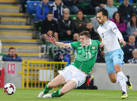 Press Eye Belfast - Northern Ireland 11th September 2018. International Challenge match at the National Stadium at Windsor Park in Belfast.  Northern Ireland Vs Israel. . Northern Ireland\'s Paddy McNair with Israel\'s Samuel Scheimann. Picture by Jonathan Porter/PressEye.com