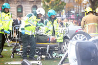 Press Eye - Belfast - Northern Ireland - 12th October 2017. The scene at Belfast City Hall where the energy services reconstructed a road traffic collision scene where the police, fire service and ambulance service were involved.  . Picture by Jonathan Porter/PressEye