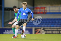 PressEye - Belfast - Northern Ireland - 10th October 2017. Euro 2019 Qualifier. Northern Ireland U21 vs Estonia U21. Pictured: Northern Ireland\'s Liam Donnelly and Estonia\'s Mark Oliver Roosnupp.. Picture: PressEye / Philip Magowan
