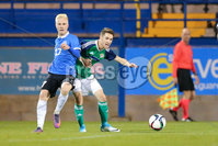 PressEye - Belfast - Northern Ireland - 10th October 2017. Euro 2019 Qualifier. Northern Ireland U21 vs Estonia U21. Pictured: Northern Ireland\'s Paul Smyth and Estonia\'s Henri Jarvelaid.. Picture: PressEye / Philip Magowan