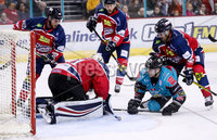 Press Eye - Belfast -  Northern Ireland - 14th September 2018 - Photo by William Cherry/Presseye. Belfast Giants\' Dustin Johner with Dundee Stars\' Craig Holland during Friday nights Challenge Cup game at the SSE Arena, Belfast.       Photo by William Cherry/Presseye