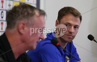 PressEye-Northern Ireland- 10th September  2018-Picture by Brian Little/ PressEye. Northern Ireland  manager Michael O\'Neill and Jonny Evans at a press conference  ahead of Tuesday Friendly International Challenge match against Israel  at the National Football Stadium at Windsor Park.. Picture by Brian Little/PressEye .
