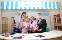 Press Eye - Belfast - Northern Ireland - 16th May 2019. Second day of the Balmoral Show, in partnership with Ulster Bank.  Pictured at Balmoral Park, outside Lisburn, are the Secretary of State for Northern Ireland Karen Bradley(centre) and Head of Ulster Bank Richard Donnan(right) who meet Clare Gallagher - Membership Manger with Women in Business at her  business stall.  Ulster Bank has provided space in its market at Balmoral Show to entrepreneurs from Ulster Bank\'s Entrepreneur Accelerator programme as well as small business customers. . Picture by Jonathan Porter/PressEye