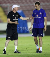 Press Eye - Belfast -  Northern Ireland - 28th May 2018 - Photo by William Cherry/Presseye. Northern Ireland manager Michael O\'Neill with Jonny Evans during Monday evenings training session at the Estadio Rommel Fernandez, Panama City.