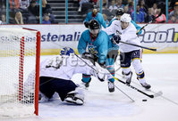 Press Eye - Belfast -  Northern Ireland - 24th August 2019 - Photo by William Cherry/Presseye . Belfast Giants\' Bobby Farnham with Herning Blue Fox\'s Albert Adamsen during Saturday nights Exhibition Game at the SSE Arena, Belfast.    Photo by William Cherry/Presseye