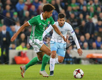 Press Eye Belfast - Northern Ireland 11th September 2018. International Challenge match at the National Stadium at Windsor Park in Belfast.  Northern Ireland Vs Israel. . Northern Ireland\'s Jamal Lewis with Israel\'s Dor Micha. Picture by Jonathan Porter/PressEye.com