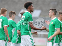 Press Eye Belfast - Northern Ireland 7th September 2018. U19 International Challenge Match - Northern Ireland Vs Slovakia at The Showgrounds, Newry.. Northern Ireland\'s Tyrone Lewthwaite(centre) celebrates after scoring to make it 1-1. . Picture by Jonathan Porter/PressEye.com