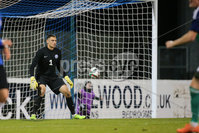 PressEye - Belfast - Northern Ireland - 10th October 2017. Euro 2019 Qualifier. Northern Ireland U21 vs Estonia U21. Pictured: Estonia\'s Matvei Igonen stands still as Mark Sykes scores.. Picture: PressEye / Philip Magowan
