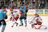 11 November 17, Mandatory Credit ©Press Eye/Darren Kidd.  Belfast Giants Jonathan Ferland with Cardiff Devils net minder Ben Bowns and Bryce Reddick during Saturday nights Elite League game at the SSE Arena, Belfast. Photo by Darren Kidd/Presseye