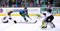 Press Eye - Belfast -  Northern Ireland - 03rd March 2019 - Photo by William Cherry/Presseye. Belfast Giants\' David Rutherford with Manchester Storm\'s Matt McGinn during Sunday afternoons Elite Ice Hockey League game at the SSE Arena, Belfast.