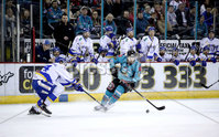 Press Eye - Belfast, Northern Ireland - 06th March 2020 - Photo by William Cherry/Presseye. Belfast Giants\' Curtis Hamilton with Fife Flyers\' Jonas Emmerdahl during Friday nights Elite Ice Hockey League game at the SSE Arena, Belfast.   Photo by William Cherry/Presseye