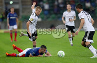 Press Eye - Belfast -  Northern Ireland - 10th July 2019 - Photo by William Cherry/Presseye/Inpho. Linfield\'s Andy Waterworth with Rosenborg\'s Birger Meling and Even Hovland during Wednesday nights Champions League, Qualifying First Round, 1st Leg game at the National Stadium at Windsor Park, Belfast.