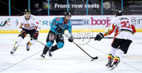 Press Eye - Belfast -  Northern Ireland - 11th January 2019 - Photo by William Cherry/Presseye. Belfast Giants Lewis Hook with HK Gomels Yevgeni Goranin during Friday nights Continental Cup Final game at the SSE Area, Belfast.   Photo by William Cherry/Presseye