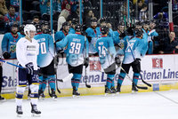 Press Eye - Belfast -  Northern Ireland - 24th August 2019 - Photo by William Cherry/Presseye . Belfast Giants\' Jesse Forsberg celebrates scoring against Herning Blue Fox during Saturday nights Exhibition Game at the SSE Arena, Belfast.    Photo by William Cherry/Presseye