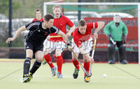 Press Eye - Belfast - Northern Ireland - Sunday 6th May 2012 -  Picture by Kelvin Boyes / Press Eye . Electric Ireland Men\'s Hockey League Final between Lisnagarvey and Dublin YMCA at Lisnagarvey Hockey Club, Hillsborough.. Jonny Bell of Lisnagarvey and Will Powderly of Dublin YMCA