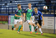 PressEye - Belfast - Northern Ireland - 10th October 2017. Euro 2019 Qualifier. Northern Ireland U21 vs Estonia U21. Pictured: Northern Ireland\'s Ben Kennedy and Estonia\'s Marco Lukka.. Picture: PressEye / Philip Magowan