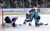 Press Eye - Belfast, Northern Ireland - 29th February 2020 - Photo by William Cherry/Presseye. Belfast Giants\' Ryan Lowney with Guildford Flames\' Wouter Peeters during Saturday nights Elite Ice Hockey League game at the SSE Arena, Belfast.    Photo by William Cherry/Presseye