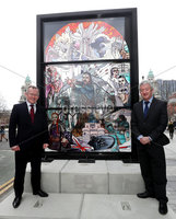 Press Eye - Belfast -  Northern Ireland - 15th April 2019 - Photo by William Cherry/Presseye.  . New Tourism Ireland campaign will encourage fans to make a pilgrimage to Belfast, where much of the world's most popular TV show was filmed ~.  . A giant, stained glass window was unveiled today in front of Belfast City Hall. The impressive installation is part of Tourism Ireland's brand new Glass of Thrones campaign – to showcase and celebrate . Northern Ireland as Game of Thrones Territory to millions of fans worldwide. This is the first of six installations to be unveiled over the coming weeks..  . PIC SHOWS: Niall Gibbons, CEO of Tourism Ireland; and John McGrillen, CEO of Tourism NI, in front of a stained glass window opposite the main entrance of Belfast City Hall – at the launch of Tourism Ireland's 2019 Game of . Thrones campaign..  . Pic – Will Cherry/Presseye (no repro fee).  . Further press info: Sinead Doyle, MCE Public Relations tel: 079 1205 9230 OR Elaine Moore / Clair Balmer, Tourism Ireland tel: 077 6652 7719.