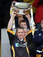 Ulster GAA Senior Hurling Championship Final - Antrim v Derry - 8th July 2012. Copyright Presseye.com. Mandatory Credit Declan Roughan / Presseye. Antrim\'s goalkeeper and Captain Damian Quinn  lifts the Senior Hurling Ulster Championship Cup