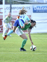 Press Eye - Belfast - Northern Ireland - 8th June. World Cup qualifier - Northern Ireland  v Netherlands at Shamrock Park Portadown.. Northern Irelands Laura Rafferty  in action with Netherlands Danielle van de Donk . Mandatory Credit: Presseye/Stephen Hamilton