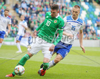 Press Eye Belfast - Northern Ireland 8th September 2018. UEFA Nations League 2019 Final Tournament at the National Stadium at Windsor Park.  Northern Ireland Vs Bosnia and Herzegovina. . Northern Ireland\'s Kyle Lafferty with Bosnia and Herzegovina\'s Toni Šunjić. Picture by Jonathan Porter/PressEye.com