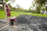 Press Eye Belfast - Northern Ireland 8th October 2017. The scene at the Falls Park in west Belfast where an exercise facility was vandalised on Friday night by young people who were in the park. . Picture by Jonathan Porter/PressEye.com.