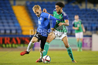 PressEye - Belfast - Northern Ireland - 10th October 2017. Euro 2019 Qualifier. Northern Ireland U21 vs Estonia U21. Pictured: Northern Ireland\'s Christopher Paul and Estonia\'s Mark Oliver Roosnupp.. Picture: PressEye / Philip Magowan