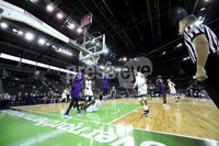 Press Eye - Belfast -  Northern Ireland - 01st December 2017 - Photo by William Cherry/Presseye. Manhattan College\'s Aaron Walker with Holy Cross\'s Jacob Grandison during Friday afternoons Basketball Hall of Fame Belfast Classic game at the SSE Arena, Belfast.
