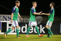PressEye - Belfast - Northern Ireland - 10th October 2017. Euro 2019 Qualifier. Northern Ireland U21 vs Estonia U21. Pictured: Northern Ireland\'s Mark Sykes celebrates.. Picture: PressEye / Philip Magowan