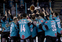 Press Eye - Belfast -  Northern Ireland - 06th April 2019 - Photo by William Cherry/Presseye. Belfast Giants\' players pictured with the Elite Ice Hockey League trophy after being crowned Champions at the SSE Arena, Belfast.       Photo by William Cherry/Presseye
