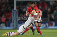 RaboDirect PRO 12, Thomond Park, Limerick 5/5/2012. Munster vs Ulster. Munster\'s Lifeimi Mafi is tackled by Chris Cochrane of Ulster. Mandatory Credit ©INPHO/Cathal Noonan