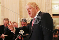 Press Eye - Belfast - Northern Ireland - 13th January 2020. British Prime Minister Boris Johnson visits Stormont in east Belfast after power sharing returned at the weekend to the Northern Ireland Assembly.. Prime Minister Boris Johnson holds a press conference in the Great Hall at Parliament Buildings.. Picture by Jonathan Porter/PressEye