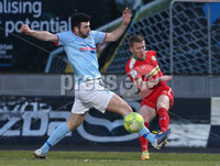Danske Bank Premiership, Ballymena United vs Cliftonville, The Ballymena Showgrounds, Co. Antrim . 3/4/2018 . Ballymena United\'s Joe. McKinney in action with Cliftonville\'s Stephen. Garrett. Mandatory Credit ©INPHO/Matt Mackey