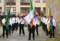 Press Eye - Belfast - Northern Ireland - 5th October 2019. Newry Republican Commemoration Committee parade through the town to Raymond McCreesh park to commemorate the hunger striker.  IRA volunteer Raymond McCreesh died in May 1981 as part of the Republican hunger strikes which seen 10 men die in the Maze prison.  A children\'s playpark in Newry was recently named after him. . A republican colour party forms up as part of the parade. . Picture by Jonathan Porter/PressEye