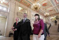 Northern Ireland- 11th June 2012 Mandatory Credit - Photo-Jonathan Porter/Presseye.  Sinn Fein hold press conference at the Great Hall in Stormont\'s Parliament Buildings in relation to political parties holding dual mandates.  Sinn Fein\'s MPs (L-R)Martin McGuinness, Party President Gerry Adams and Michelle Gildernew.