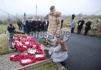 Press Eye - Belfast - Northern Ireland - 11th March 2018. Wreath laying ceremony at the memorial to three Scottish solders in the Ligoneil area of north Belfast killed by the IRA in 1971.  Brothers John and Joseph McCaig and Dougald McCaughey of the Royal Highland Fusiliers were off duty when they were lured to the area in March 1971 and shot dead. . Picture by Jonathan Porter/PressEye