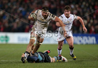 12 February 16 - Picture by Darren Kidd / Press Eye..  . Guinness PRO12 Ulster v Glasgow at Kingspan Stadium, Belfast.. Ulster\'s Alan O\'Connor is tackled by Glasgow\'s Rob Harley