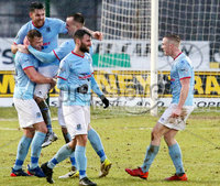 Bet McLean Cup Semi-Final, Showgrounds, Co. Antrim 10/2/2018. Ballymena United vs Cliftonville. Ballymena celebrate after scoring . Mandatory Credit ©INPHO/Jonathan Porter