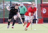 Press Eye - Belfast - Northern Ireland - Sunday 6th May 2012 -  Picture by Kelvin Boyes / Press Eye . Electric Ireland Men\'s Hockey League Final between Lisnagarvey and Dublin YMCA at Lisnagarvey Hockey Club, Hillsborough.. Timmy Cockram of Lisnagarvey and Jonathan Bruton of Dublin YMCA
