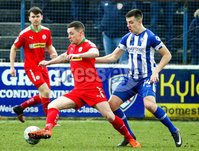 Danske Bank Premiership Play-Off, The Ballymena Showgrounds, Co. Antrim 7/4/2018 . Coleraine vs Cliftonville. Ruairi Harkin for Cliftonville and Brad Lyons for Coleraine. Mandatory Credit ©INPHO/Freddie Parkinson