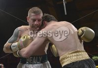 Press Eye - Belfast - Northern Ireland - 4th May 2012. Betfair Prizefighter Irish Middleweights Competition at The Kings Hall, Belfast. 2nd QFinal between Ciaran Healy and Ryan Greene. ©Russell Pritchard / Presseye