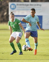 Press Eye - Belfast - Northern Ireland - 8th June. World Cup qualifier - Northern Ireland  v Netherlands at Shamrock Park Portadown.. Northern Irelands Demi Vance in action with Netherlands  Shanice van de Sanden. Mandatory Credit: Presseye/Stephen Hamilton