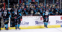 Press Eye - Belfast -  Northern Ireland - 06th January 2019 - Photo by William Cherry/Presseye. Belfast Giants\' Patrick Dwyer celebrates scoring against Sheffield Steelers during Sunday afternoons Elite Ice Hockey League game at the SSE Arena, Belfast.    Photo by William Cherry/Presseye
